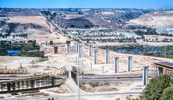 The Interstate 805 bridge over Mission Valley under construction in October 1969. (Photo by Philip Pryde)