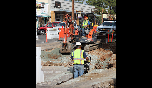 Construction workers tear up La Mesa Boulevard near Third Street (Photo by Jeremy Ogul)