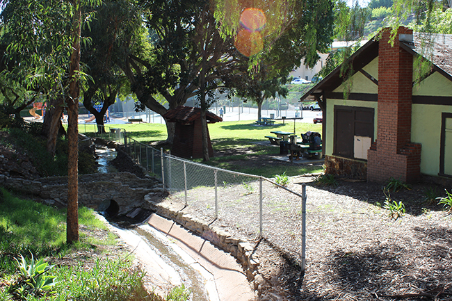Spring water still flows through Collier Park next to the historic Spring House. (Photo by Jeremy Ogul)