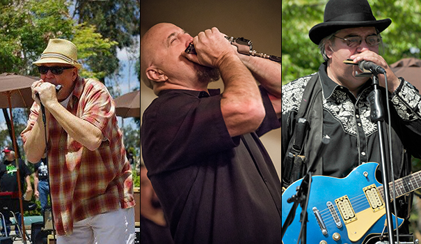 """Some of the performers at this year's Spring Harp Fest (left to right): Dane Terry (courtesy of Spring Harp Fest); Kim Wilson (Photo by Naugle Photography); """"Harmonica John"""" Frazer (Photo by David H. Lewis);"""