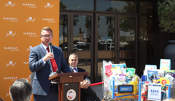 El Cajon Mayor Bill Wells speaks at a press conference to tout the recent drop in sales tax. (Photo by Jeremy Ogul)