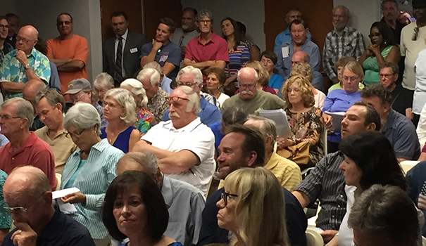 Residents pack the Oct. Helix Water District board meeting. The district voted to increase water rates, drawing loud complaints from customers. (Photo by Jeff Clemetson)