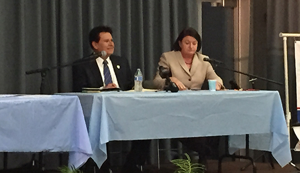 Senator Marty Block (left) and Speaker Toni Atkins square off at a debate hosted by the La Mesa Foothills Democratic Club. (Photo by Jeff Clemetson)