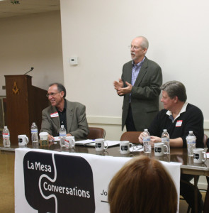 (l to r) Barry Jantz, David Witt and Christopher D'Avignon at La Mesa Conversations on Jan. 27 (Photo by Jeff Clemetson)