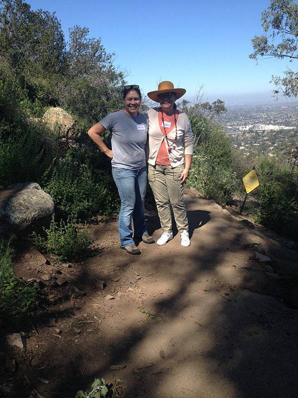 Susan Krzywicki (left) of the California Native Plant Society and Debbie Cressey from the Tree Of Life Nursery pose for a picture during the CNPS Garden Native Tour of Mt. Helix Park. (Courtesy of Mt. Helix Park Foundation);
