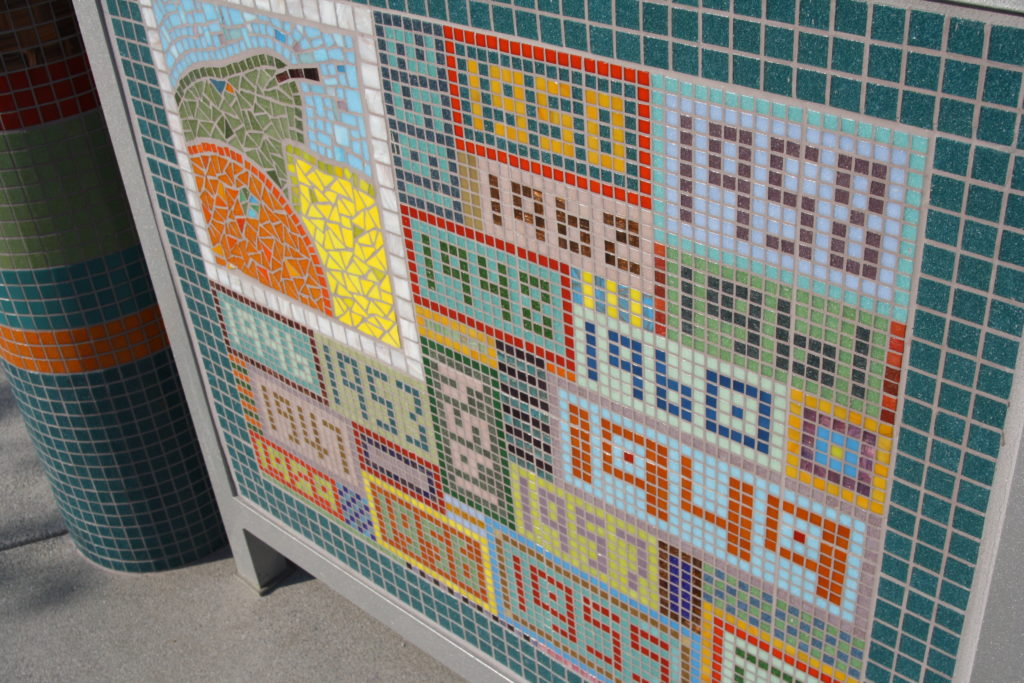 Tiles of La Mesa's first 100 years and mosaics of the city's history adorn the walls of the gazebo. (Photo by Jeff Clemetson)