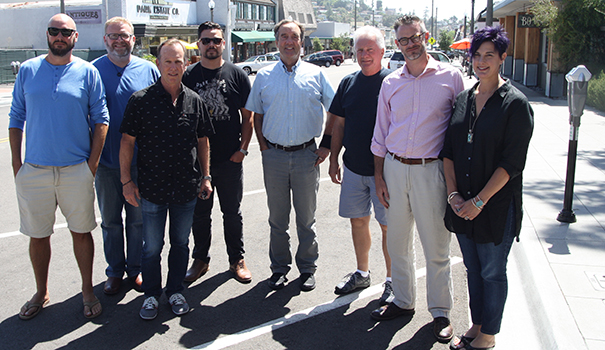 (l to r) Fourpenny House executive chef Joshua Soth, Boulevard Noodles and Sheldon's Coffee owner Aaron Dean, Guy Blumenthal of Blumenthal's Jewelers, Public Square owner Aaron Hernandez, City Councilmember Guy McWhirter, Johnny B's owner John Bedlion, Fourpenny House owner Peter Soutowood and Amethyst Moon owner Theresa Favro (Photo by Jeff Clemetson)