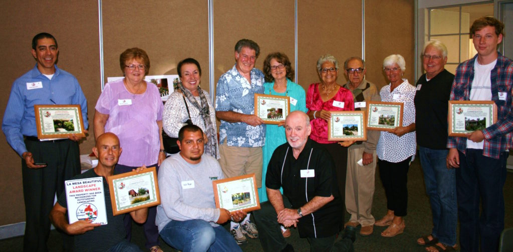 The 2016 La Mesa Beautiful Outstanding Landscapes awardees: (front row, l to r) George Mercer, Pablo Macias, Bob Duggan; (back row, l to r) Julio Becceril, Bev Horton, Laura Duggan, Joe Hartley, Connie Ottinger, Sylvia Nasri, Fares Nasri, Julie Rone, Stan Rone, Taylor Long (Courtesy of Linda Johnson)