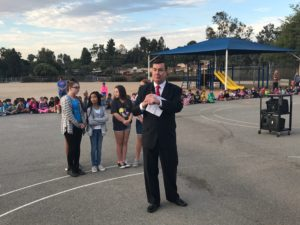 State Senator Joel Anderson speaks to students and faculty at Murray Manor Elementary School on Oct. 28. Anderson was there to support the Barona Education Grant, which was given to Murray to fund technology in the classrooms. (Courtesy of Sen. Joel Anderson's office)